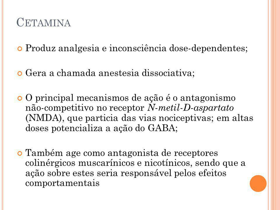 Cetamina Produz analgesia e inconsciência dose-dependentes;