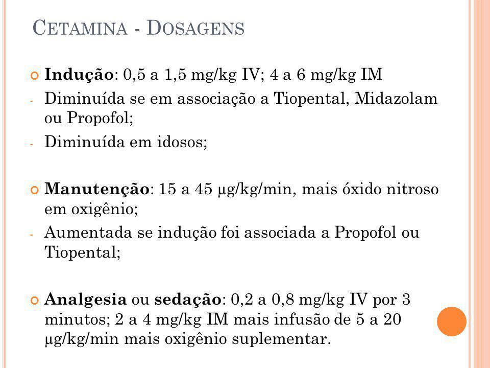 Cetamina - Dosagens Indução: 0,5 a 1,5 mg/kg IV; 4 a 6 mg/kg IM