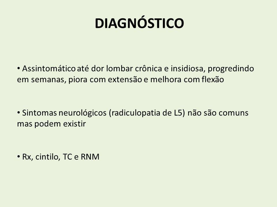 DIAGNÓSTICO Assintomático até dor lombar crônica e insidiosa, progredindo em semanas, piora com extensão e melhora com flexão.