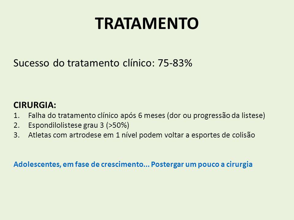 TRATAMENTO Sucesso do tratamento clínico: 75-83% CIRURGIA: