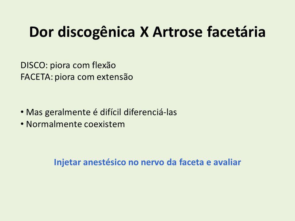 Dor discogênica X Artrose facetária