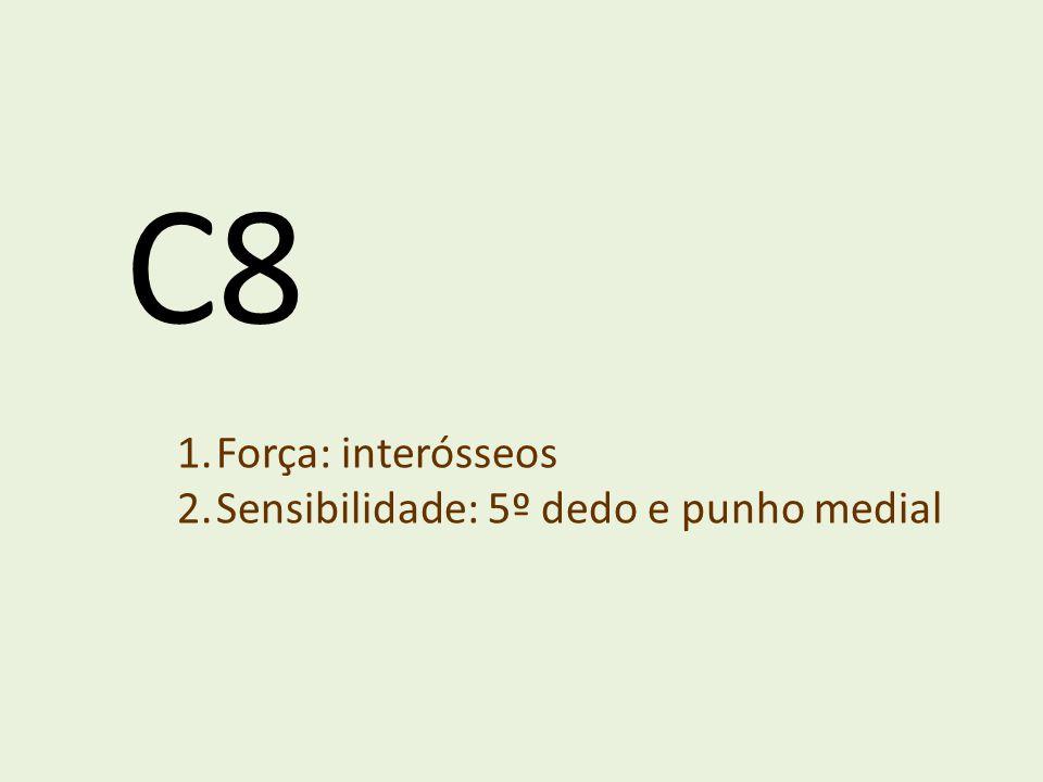 C8 Força: interósseos Sensibilidade: 5º dedo e punho medial