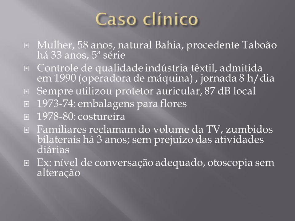 Caso clínico Mulher, 58 anos, natural Bahia, procedente Taboão há 33 anos, 5ª série.