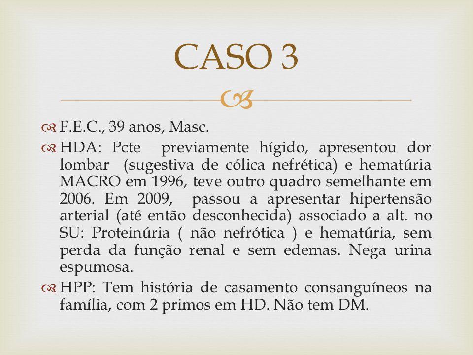 CASO 3 F.E.C., 39 anos, Masc.