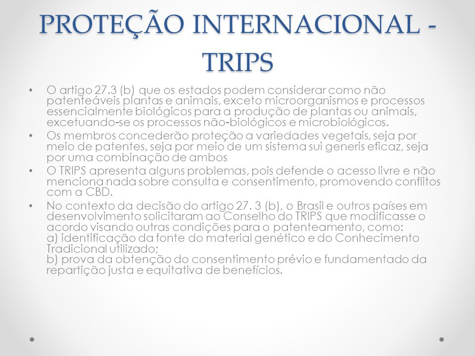 PROTEÇÃO INTERNACIONAL - TRIPS