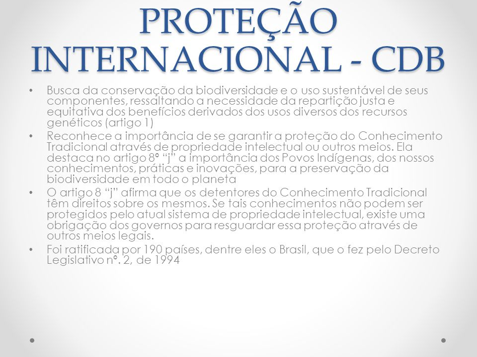 PROTEÇÃO INTERNACIONAL - CDB
