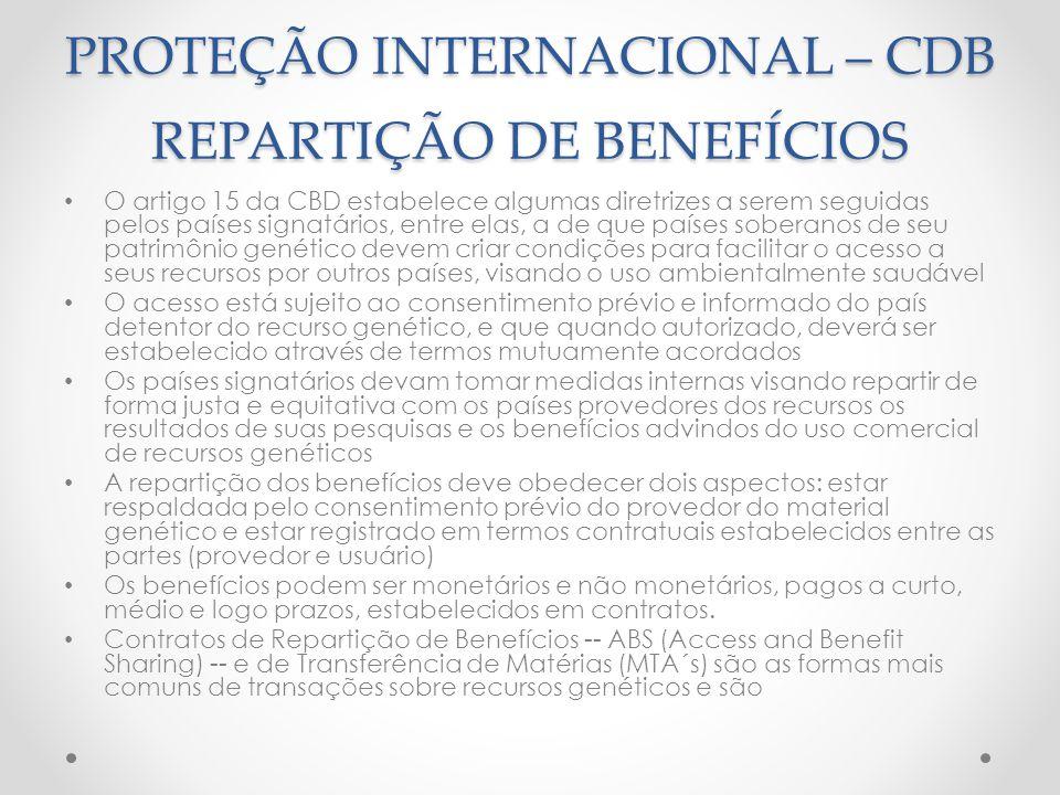 PROTEÇÃO INTERNACIONAL – CDB REPARTIÇÃO DE BENEFÍCIOS