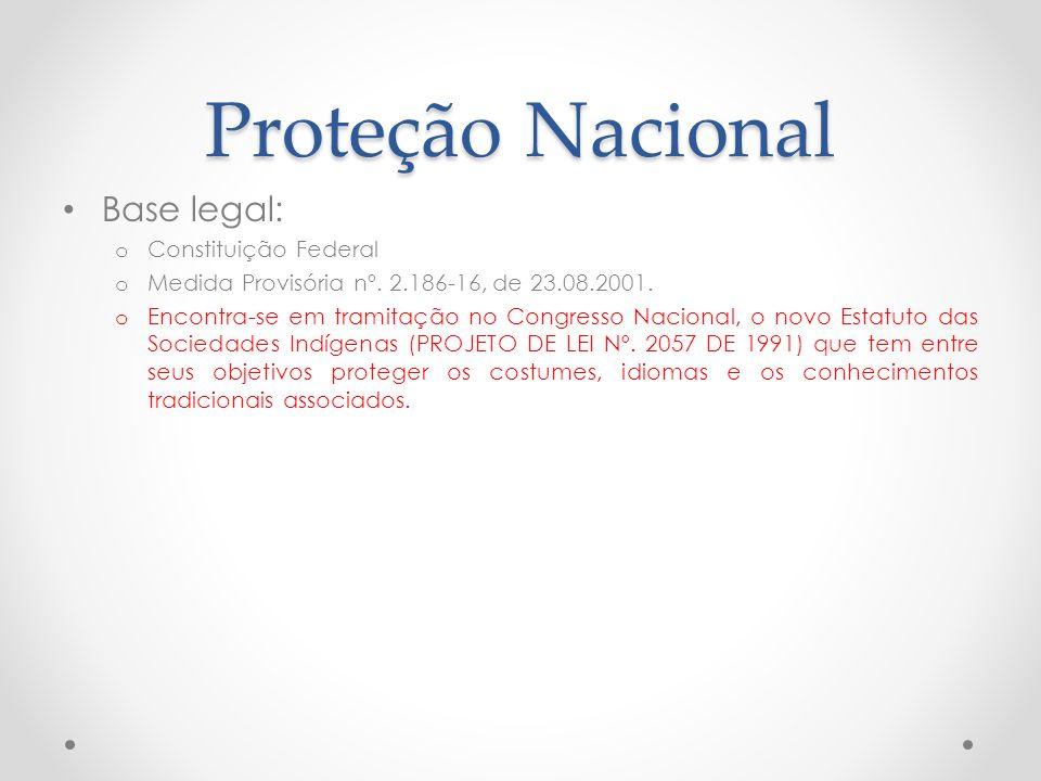 Proteção Nacional Base legal: Constituição Federal
