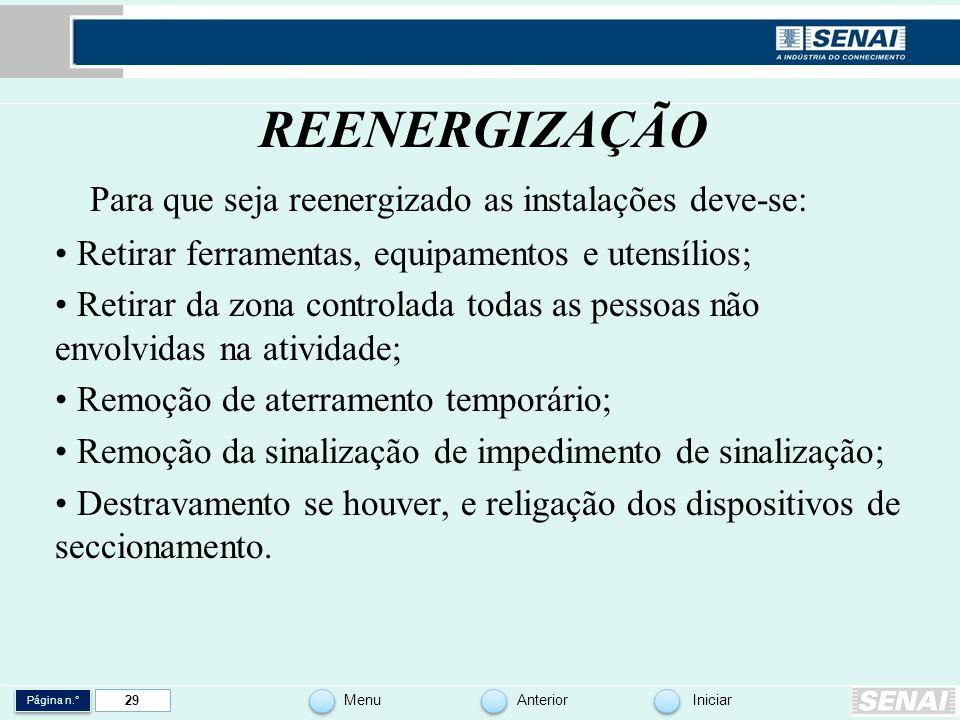 REENERGIZAÇÃO Para que seja reenergizado as instalações deve-se: