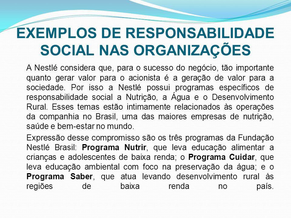 EXEMPLOS DE RESPONSABILIDADE SOCIAL NAS ORGANIZAÇÕES