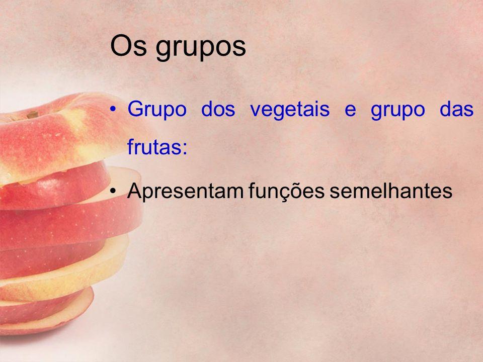 Os grupos Grupo dos vegetais e grupo das frutas: