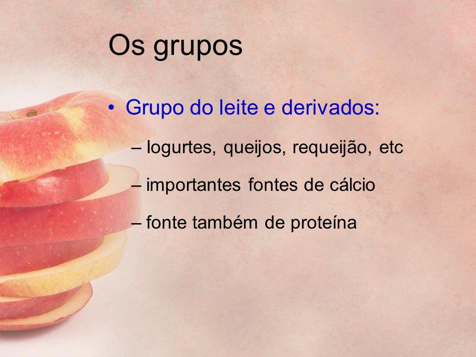 Os grupos Grupo do leite e derivados: