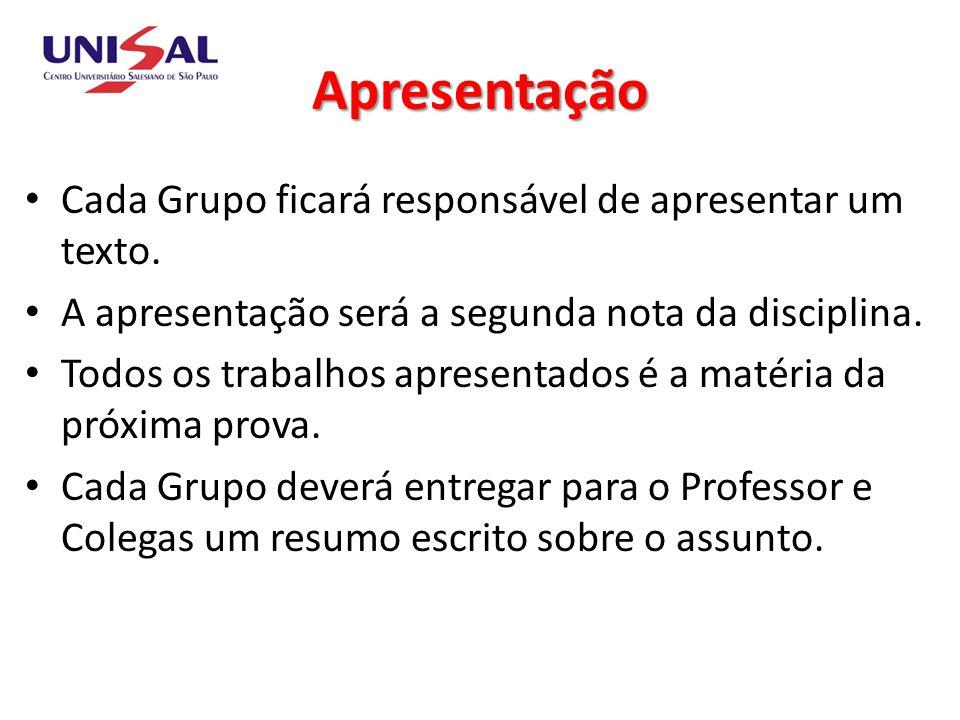 Apresentação Cada Grupo ficará responsável de apresentar um texto.