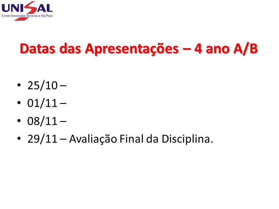 Datas das Apresentações – 4 ano A/B