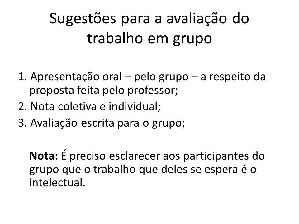 Sugestões para a avaliação do trabalho em grupo
