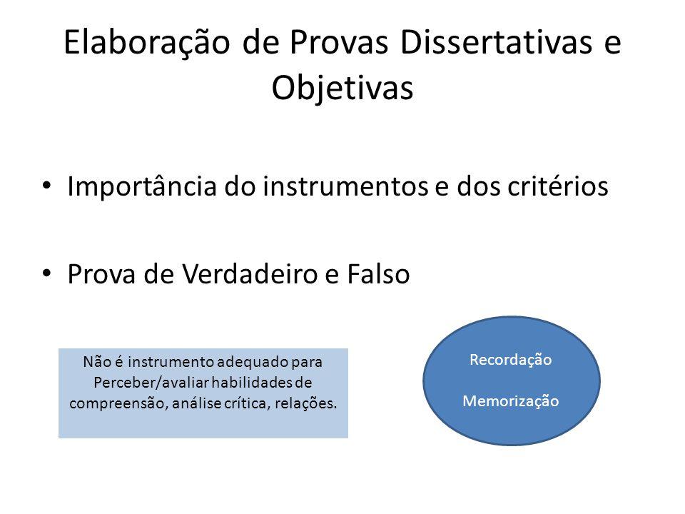 Elaboração de Provas Dissertativas e Objetivas