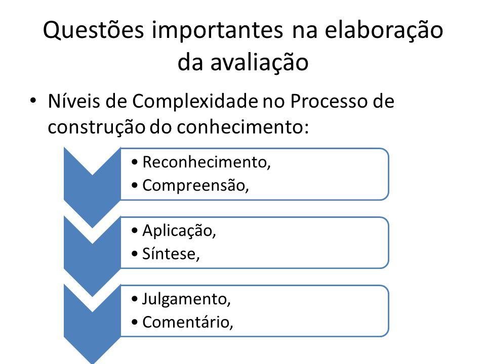Questões importantes na elaboração da avaliação
