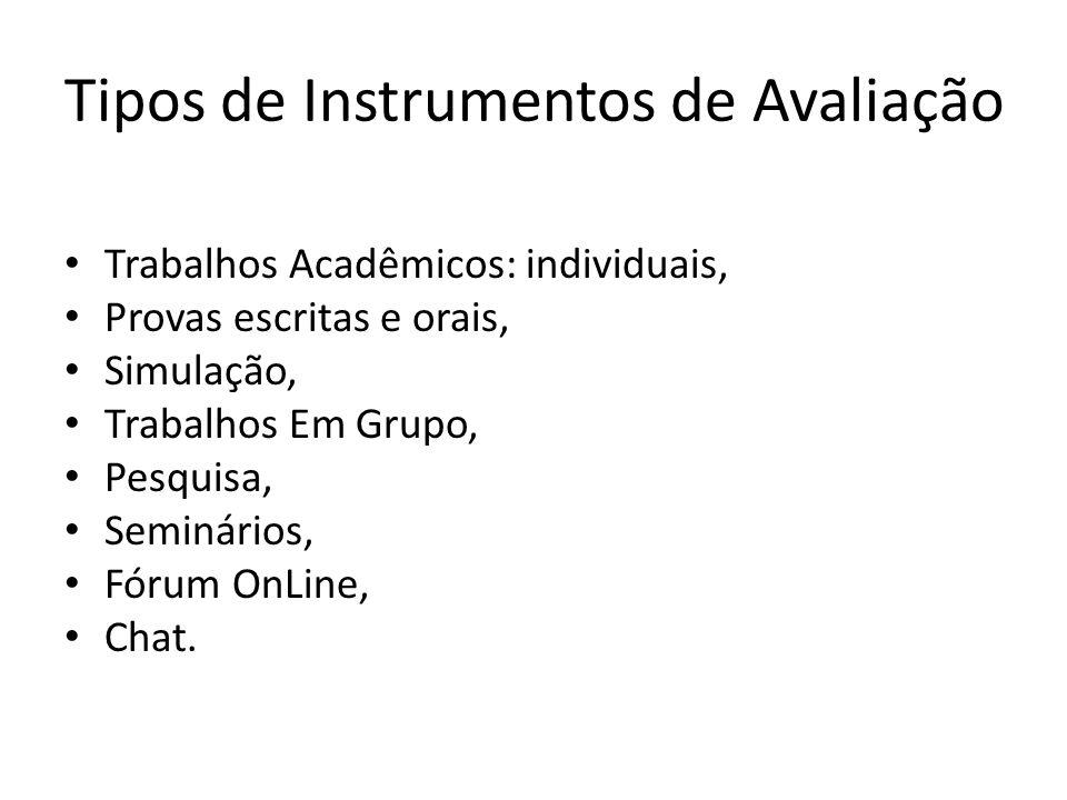 Tipos de Instrumentos de Avaliação