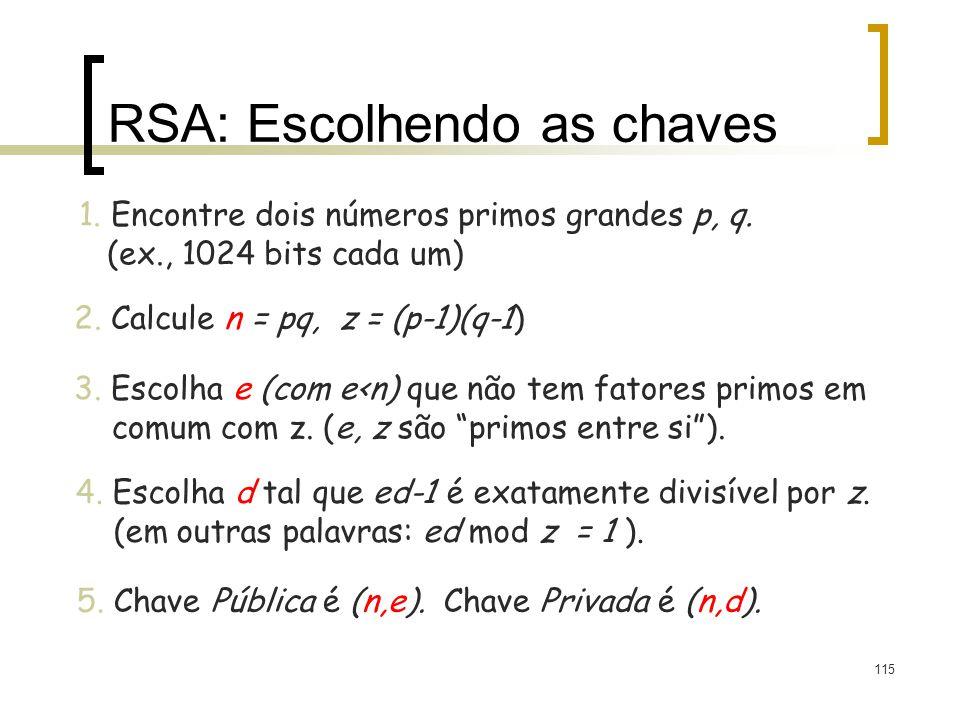 RSA: Escolhendo as chaves