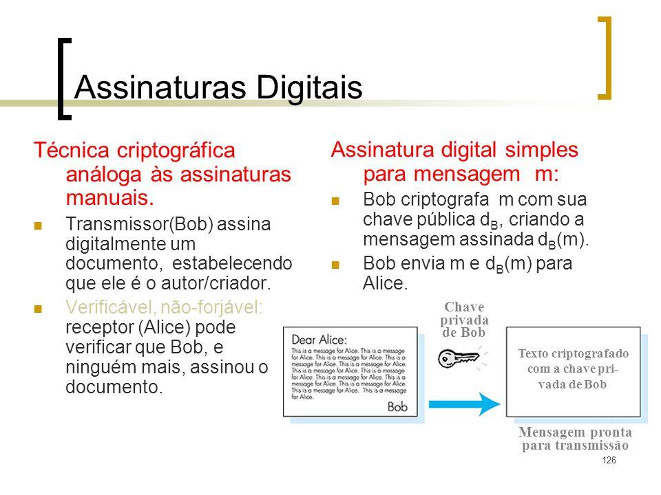 Assinaturas Digitais Técnica criptográfica análoga às assinaturas manuais.