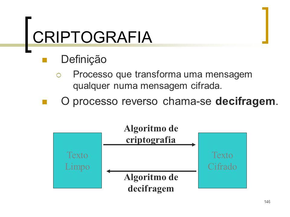 CRIPTOGRAFIA Definição O processo reverso chama-se decifragem.