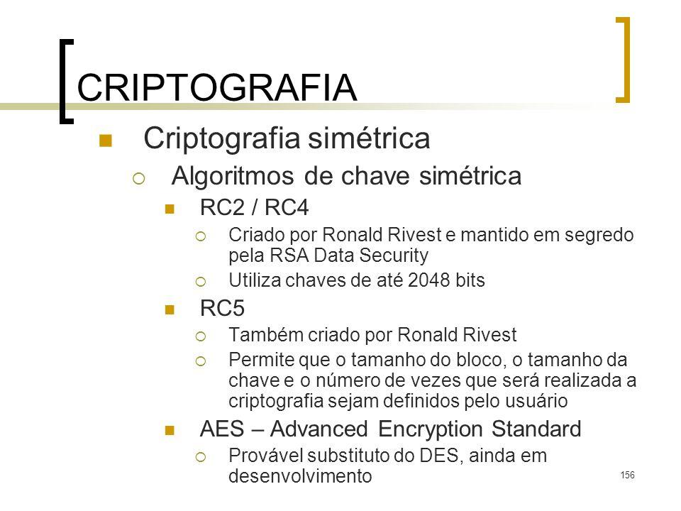 CRIPTOGRAFIA Criptografia simétrica Algoritmos de chave simétrica