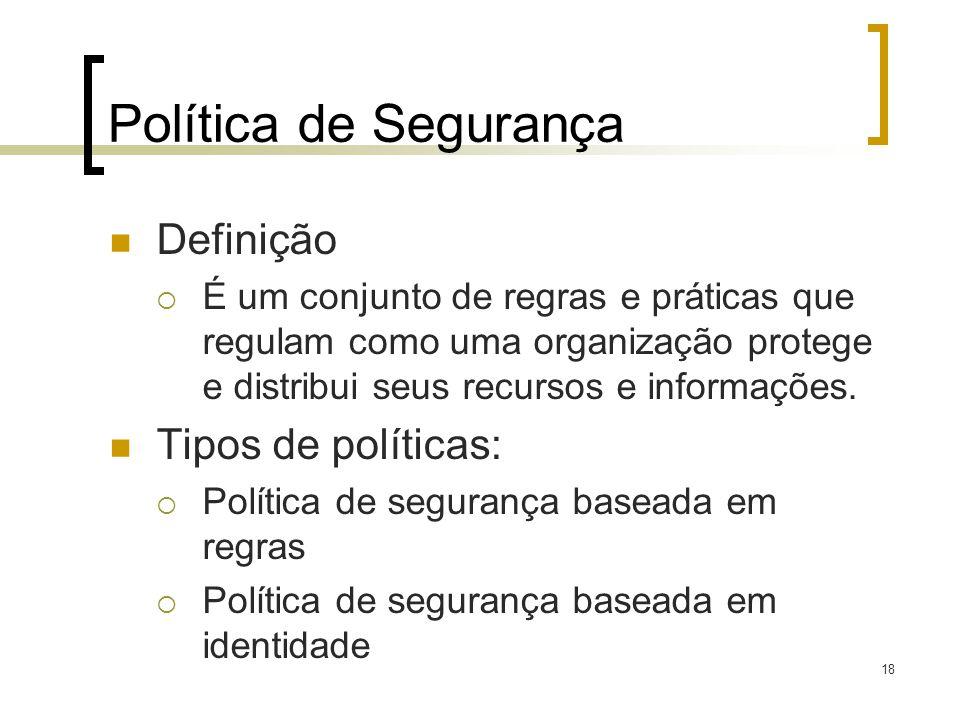Política de Segurança Definição Tipos de políticas: