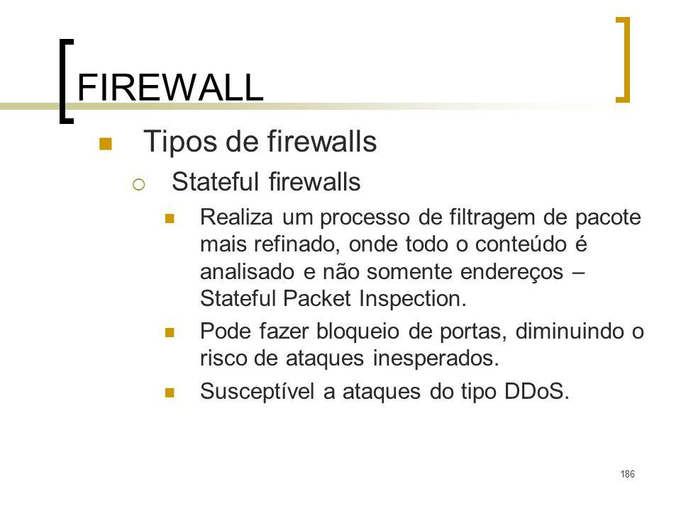 FIREWALL Tipos de firewalls Stateful firewalls