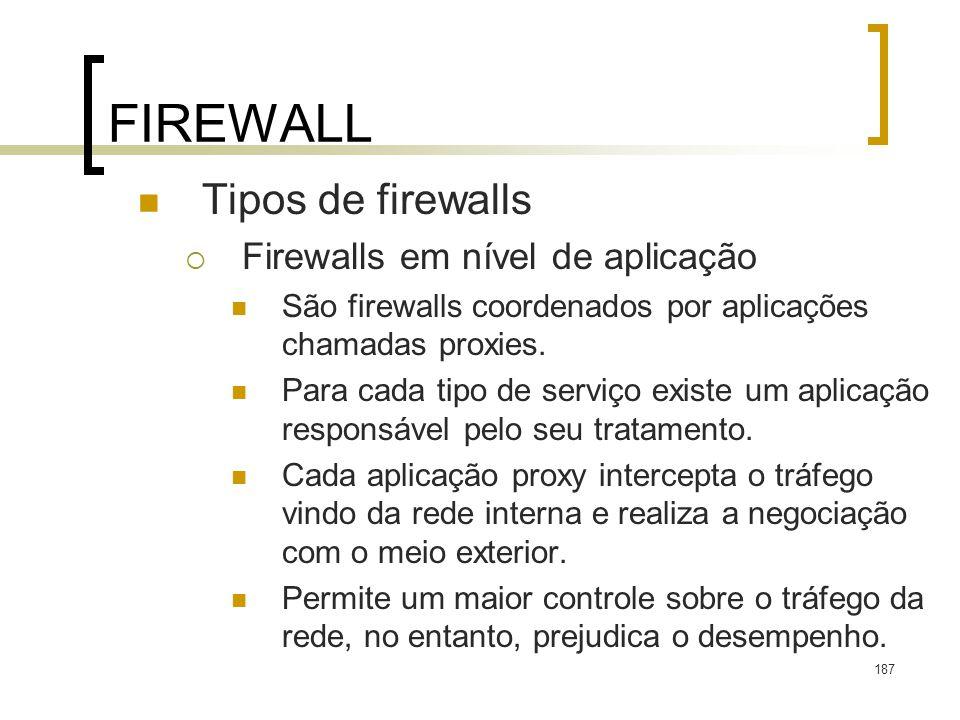 FIREWALL Tipos de firewalls Firewalls em nível de aplicação