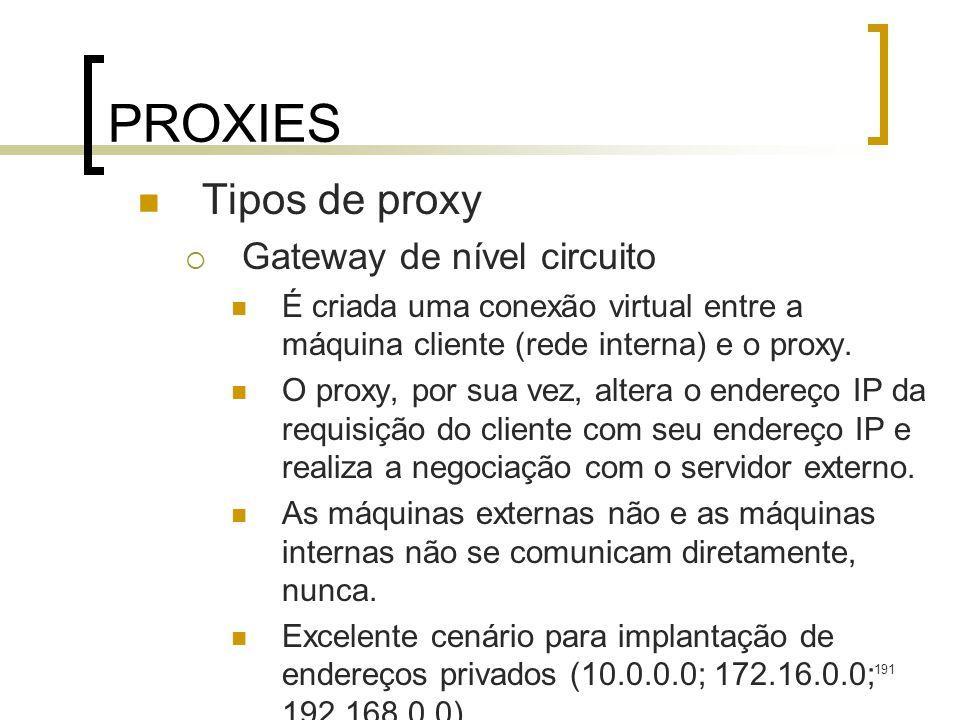 PROXIES Tipos de proxy Gateway de nível circuito