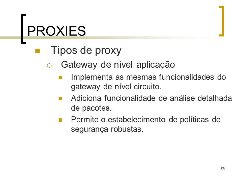 PROXIES Tipos de proxy Gateway de nível aplicação