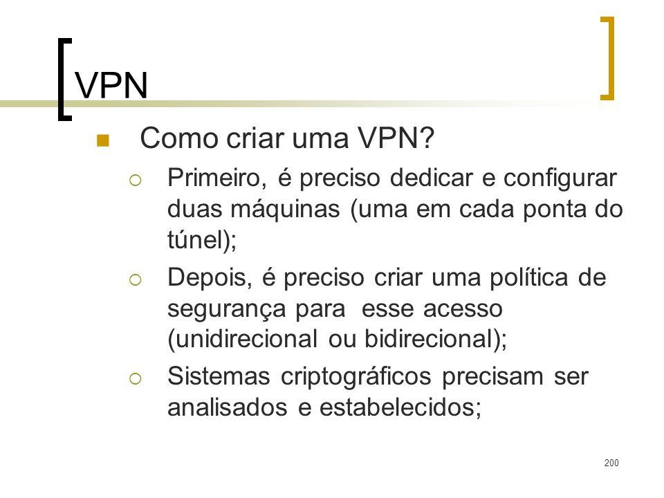 VPN Como criar uma VPN Primeiro, é preciso dedicar e configurar duas máquinas (uma em cada ponta do túnel);