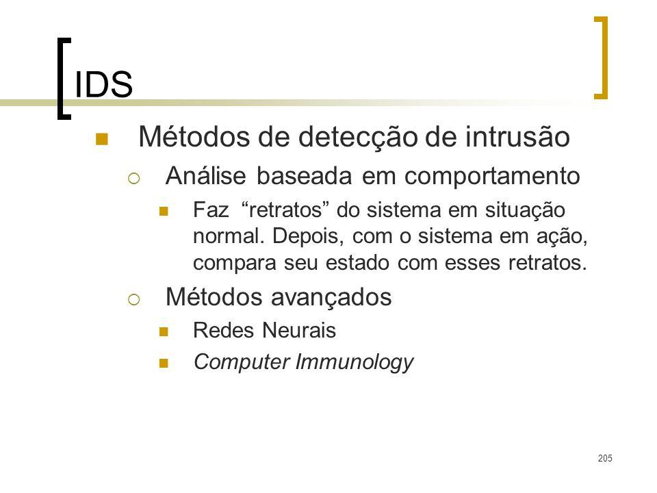 IDS Métodos de detecção de intrusão Análise baseada em comportamento