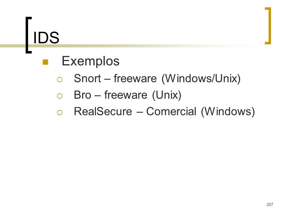 IDS Exemplos Snort – freeware (Windows/Unix) Bro – freeware (Unix)