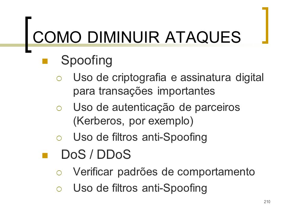 COMO DIMINUIR ATAQUES Spoofing DoS / DDoS
