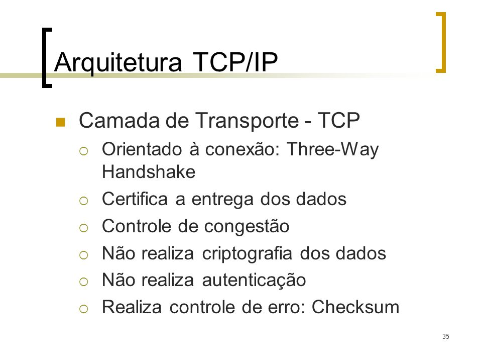 Arquitetura TCP/IP Camada de Transporte - TCP