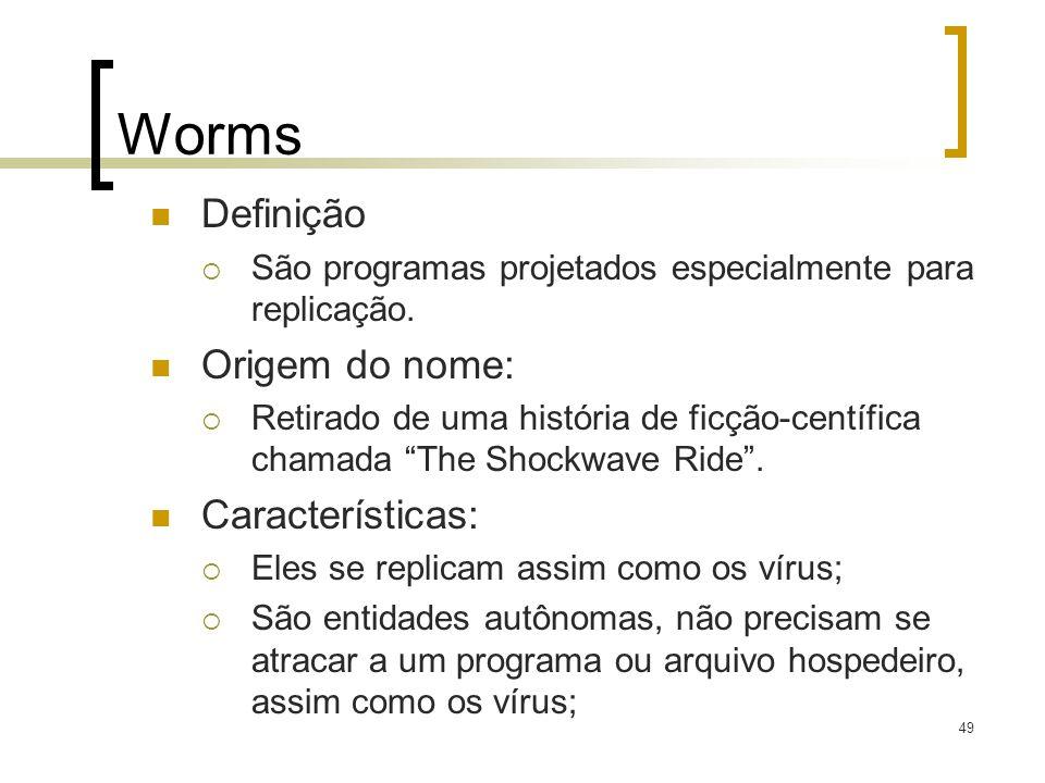 Worms Definição Origem do nome: Características: