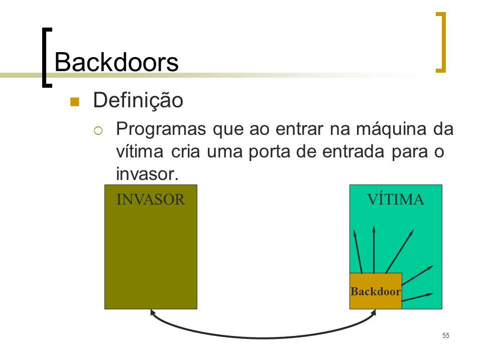 Backdoors Definição. Programas que ao entrar na máquina da vítima cria uma porta de entrada para o invasor.