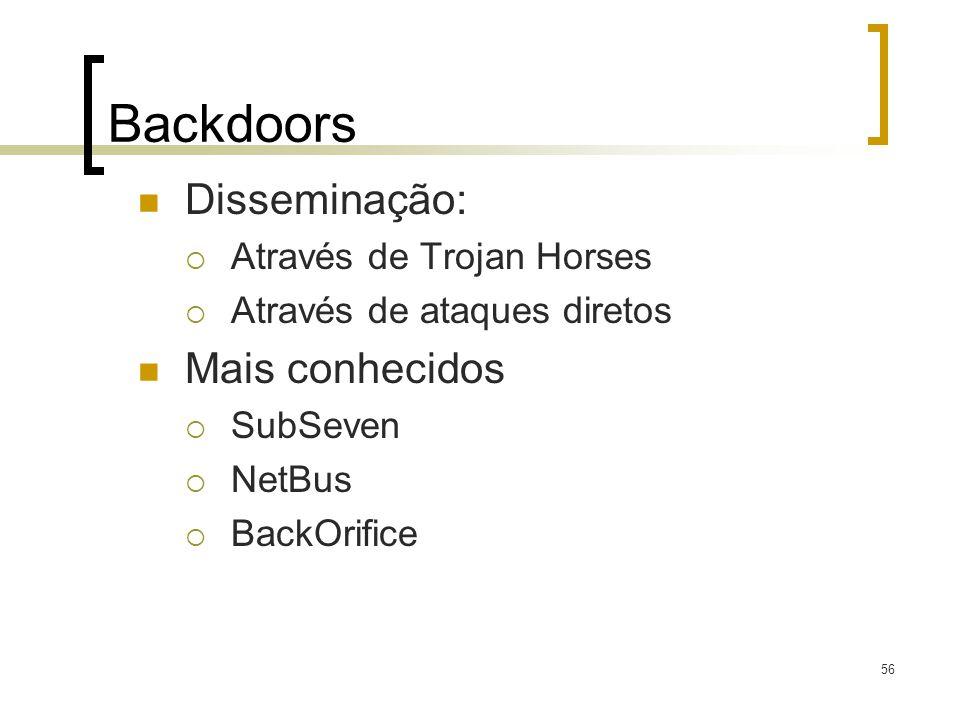 Backdoors Disseminação: Mais conhecidos Através de Trojan Horses