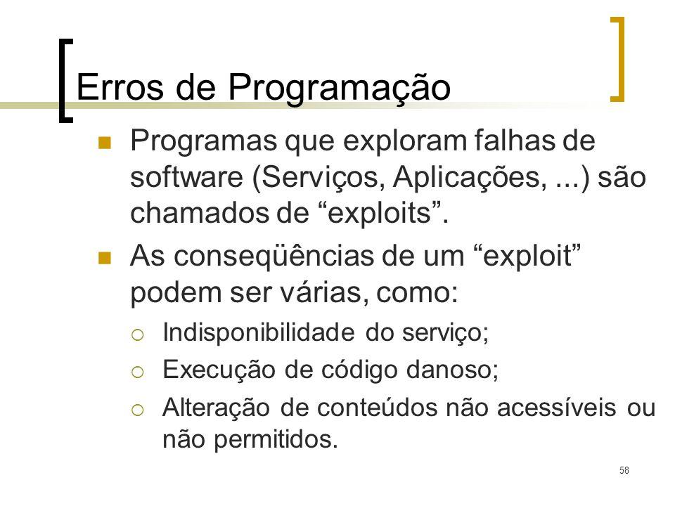 Erros de Programação Programas que exploram falhas de software (Serviços, Aplicações, ...) são chamados de exploits .