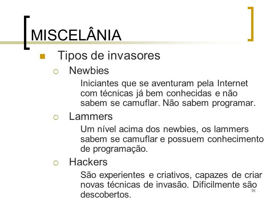 MISCELÂNIA Tipos de invasores Newbies Lammers Hackers