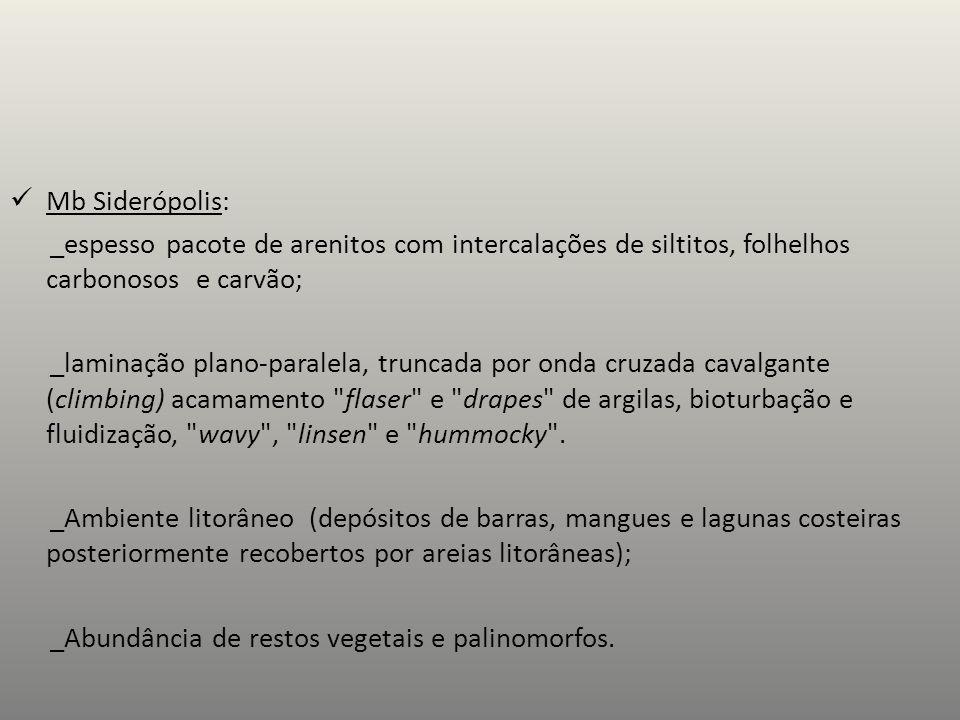 Mb Siderópolis: _espesso pacote de arenitos com intercalações de siltitos, folhelhos carbonosos e carvão;