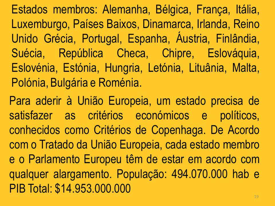 Estados membros: Alemanha, Bélgica, França, Itália, Luxemburgo, Países Baixos, Dinamarca, Irlanda, Reino Unido Grécia, Portugal, Espanha, Áustria, Finlândia, Suécia, República Checa, Chipre, Eslováquia, Eslovénia, Estónia, Hungria, Letónia, Lituânia, Malta, Polónia, Bulgária e Roménia.