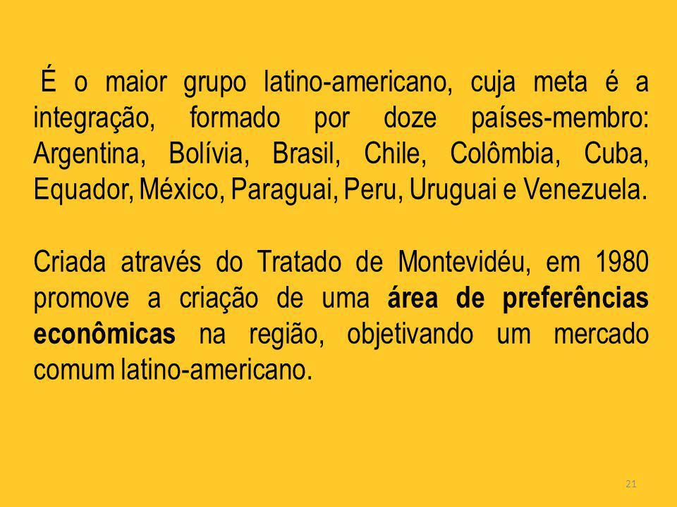 É o maior grupo latino-americano, cuja meta é a integração, formado por doze países-membro: Argentina, Bolívia, Brasil, Chile, Colômbia, Cuba, Equador, México, Paraguai, Peru, Uruguai e Venezuela.