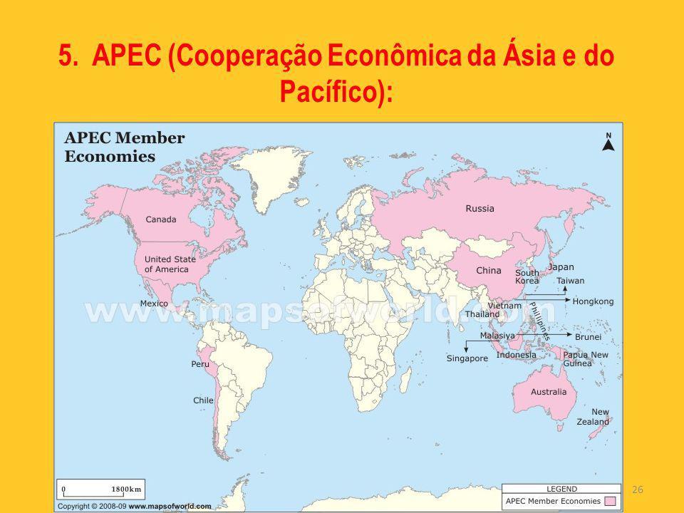 5. APEC (Cooperação Econômica da Ásia e do Pacífico):