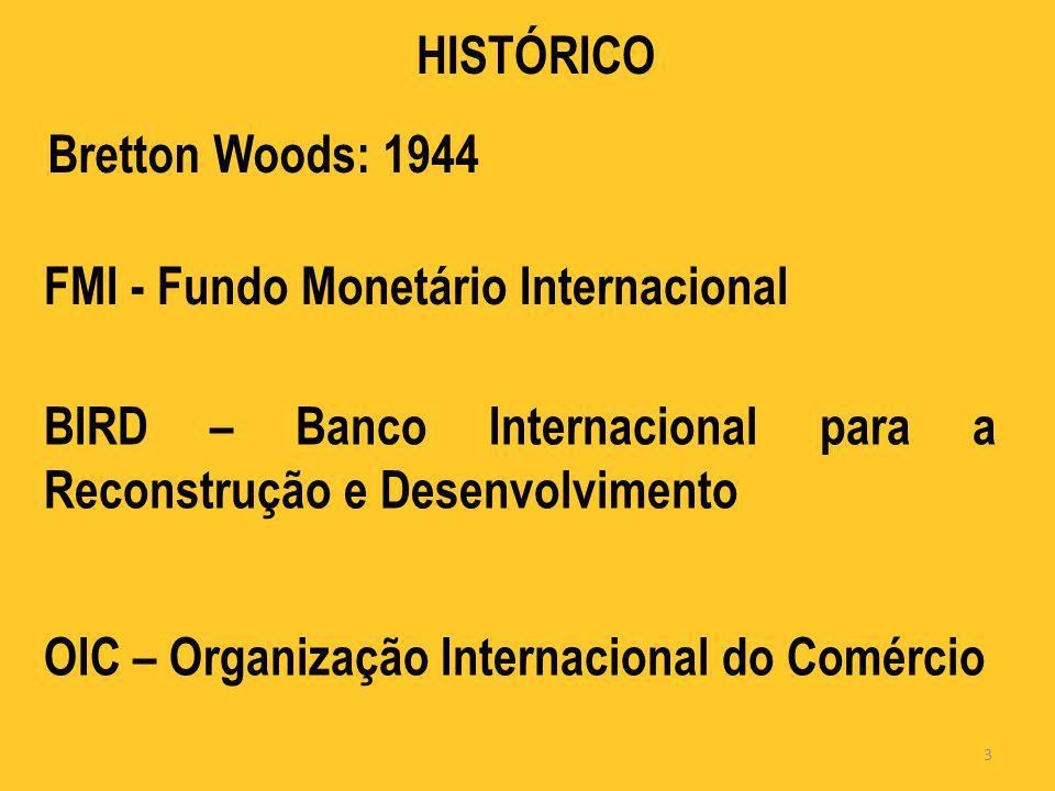 HISTÓRICO Bretton Woods: 1944. FMI - Fundo Monetário Internacional. BIRD – Banco Internacional para a Reconstrução e Desenvolvimento.
