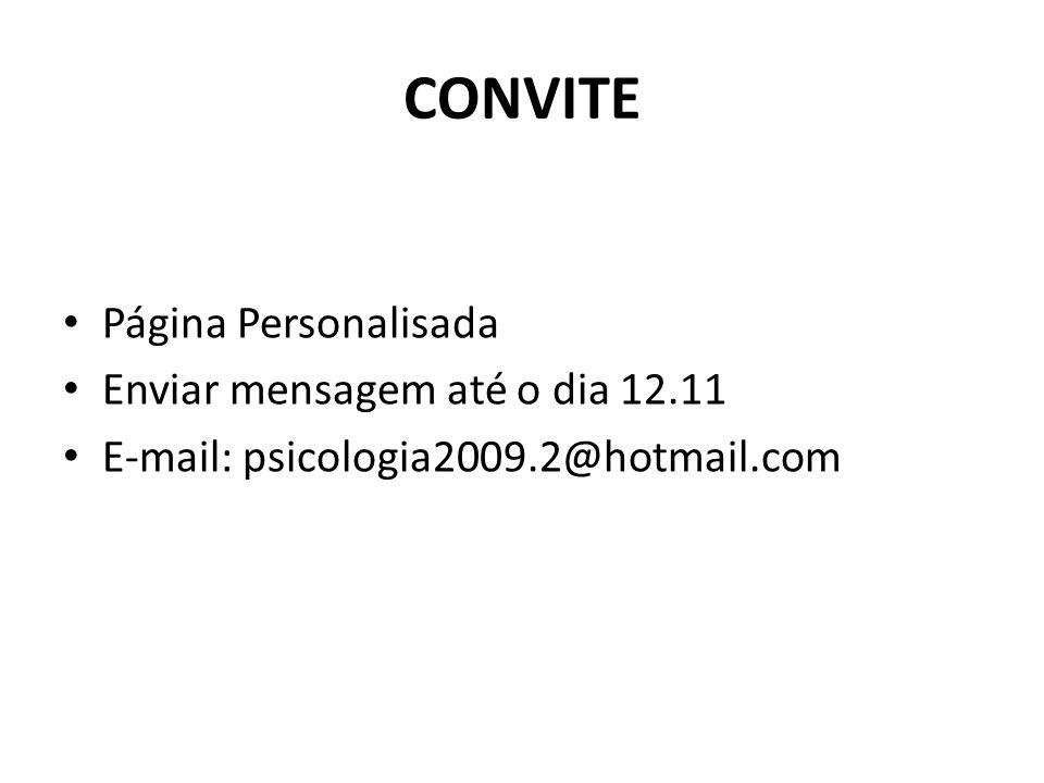 CONVITE Página Personalisada Enviar mensagem até o dia 12.11