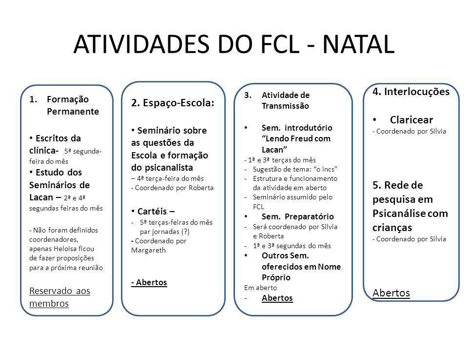 ATIVIDADES DO FCL - NATAL