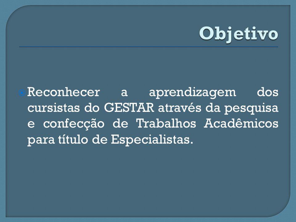 Objetivo Reconhecer a aprendizagem dos cursistas do GESTAR através da pesquisa e confecção de Trabalhos Acadêmicos para título de Especialistas.