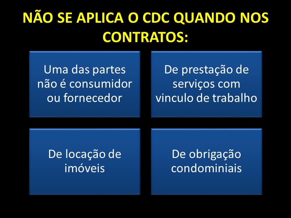 NÃO SE APLICA O CDC QUANDO NOS CONTRATOS: